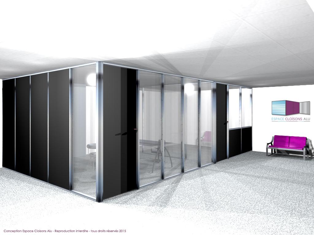 Plan 3D Amenagement de bureau cloisons modulaire du bureau toute hauteur panneau en bois et panneau vitrée
