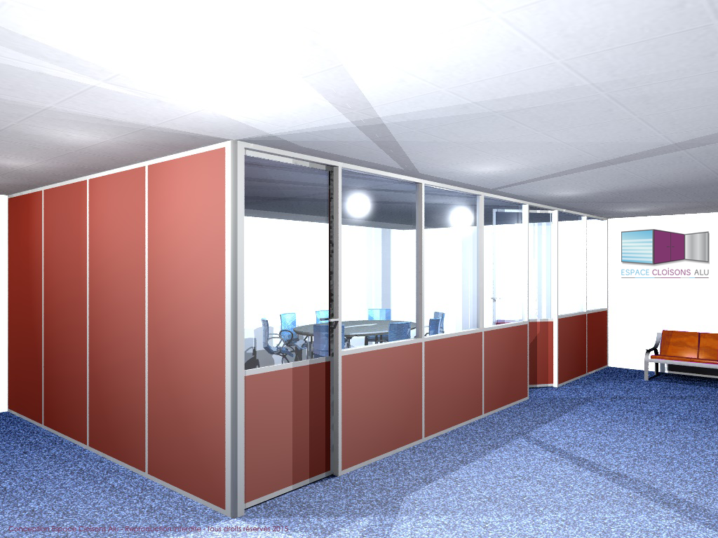 Plan 3D Amenagement de bureau cloisons modulaire du bureau porte coulissante  vitree sur allege
