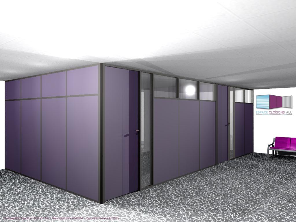 Plan 3D installation de cloisons modulaire