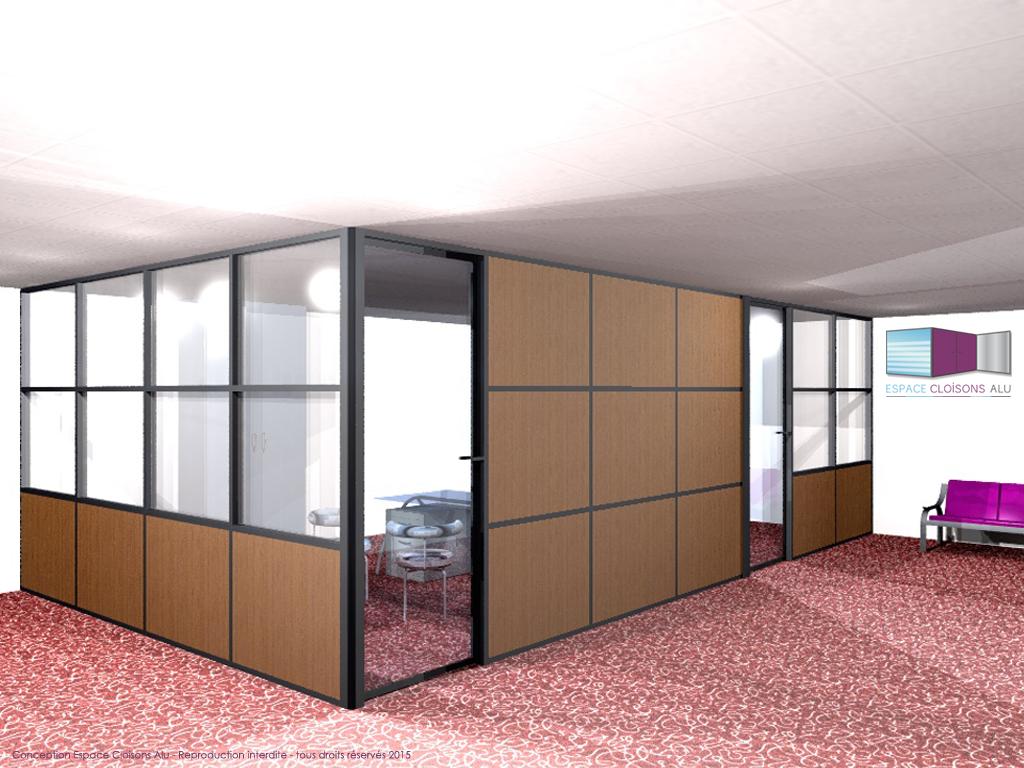 Plan 3D Amenagement de bureau cloisons modulaire du bureau toute hauteur bois avec couvre joint