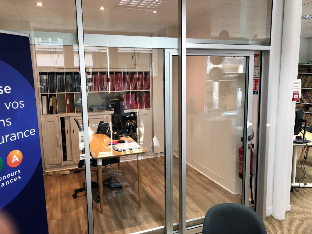 Amenagement de bureau en cloisons vitree