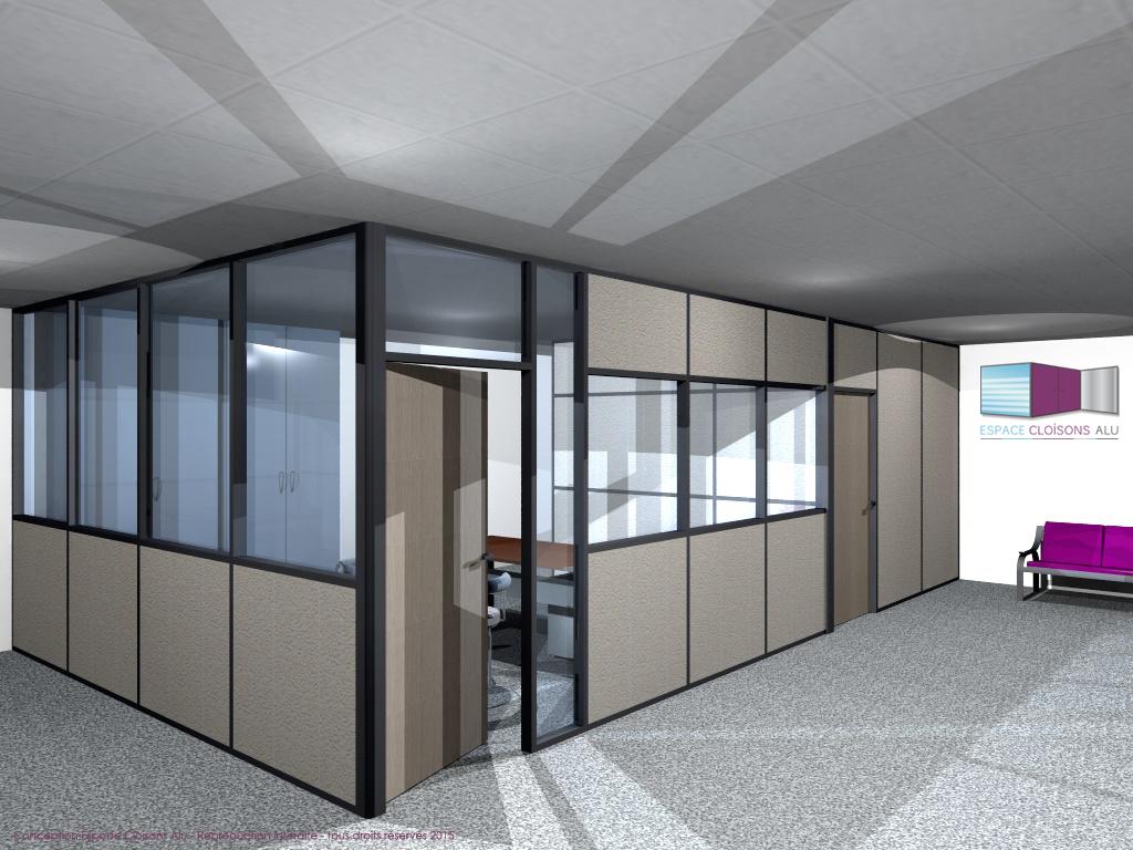 Plan 3D Amenagement de bureau cloisons modulaire du bureau vitrée sur alleges